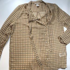 H&M   Blouse Tie Detail Size 4 Brown Tan Orange